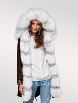Graceful but limited version of ladies' Arctic fox fur hybrid coffee parka convertibles