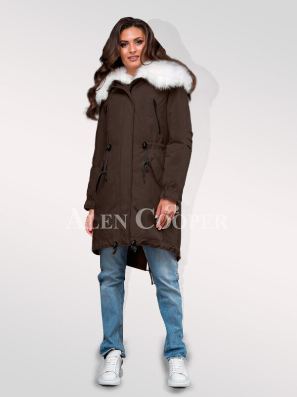 Graceful but limited version of ladies Arctic fox fur hybrid coffee parka convertibles