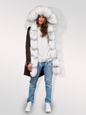 Graceful but limited version of ladies Arcticfox fur hybrid coffee parka convertibles