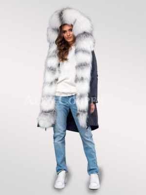 Innovatively and elegantly designed ladies' Arctic fox fur navy parka convertibles