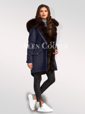 Out-of-the-box design Arctic fox fur hybrid navy parka convertibles for women