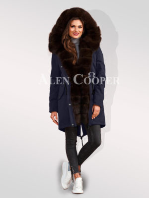 Out-of-the-box design Arctic fox fur hybrid navy parka convertibles for womens