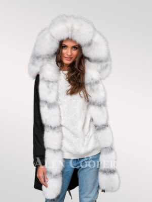 Redefining grace with Arctic fox fur hybrid black parka convertibles for women
