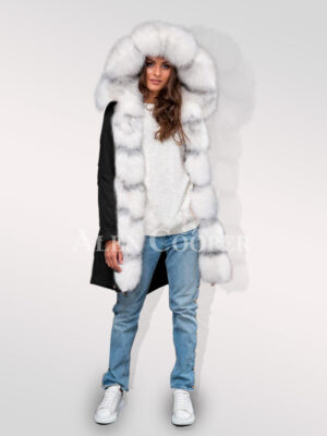 Redefining grace with Arctic fox fur hybrid black parka convertibles for women's