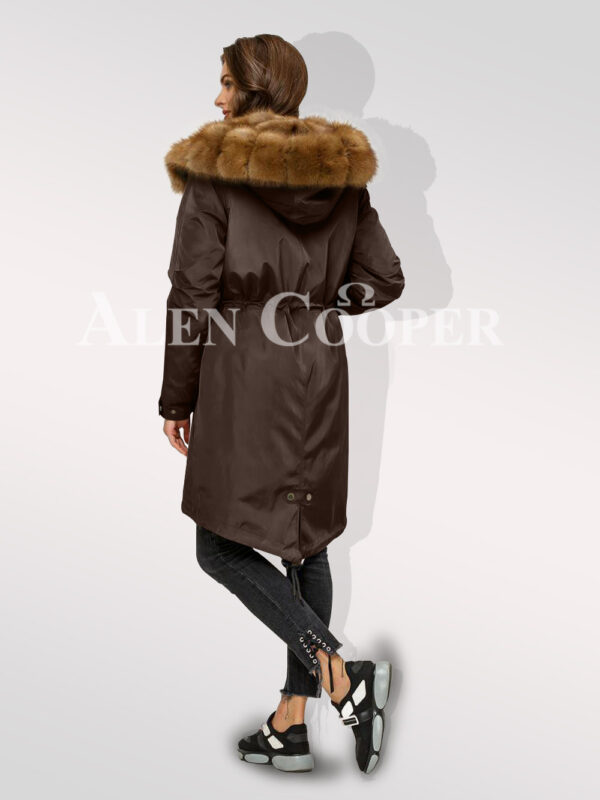 Standalone range of Canadian sable fur hybrid coffee parka convertibles for women back side view