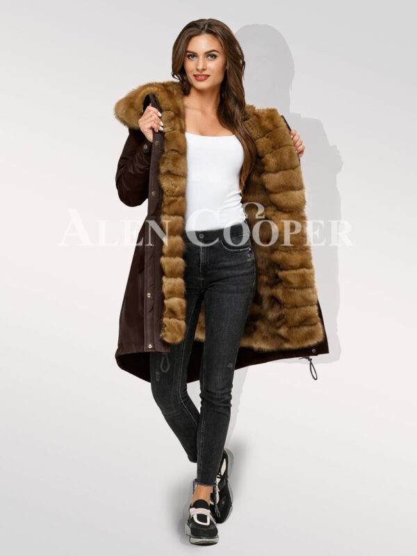 Standalone range of Canadian sable fur hybrid coffee parka convertibles for womens