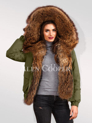Standalone variety of womens Finn raccoon hybrid green bomber jacket convertibles to redefine your taste