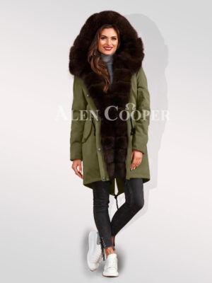 Steal the limelight with ladies Arctic fox fur hybrid green parka convertibles