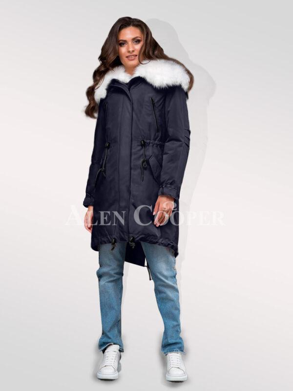 Stylish and trendy Arctic fox fur hybrid navy parka convertibles divas