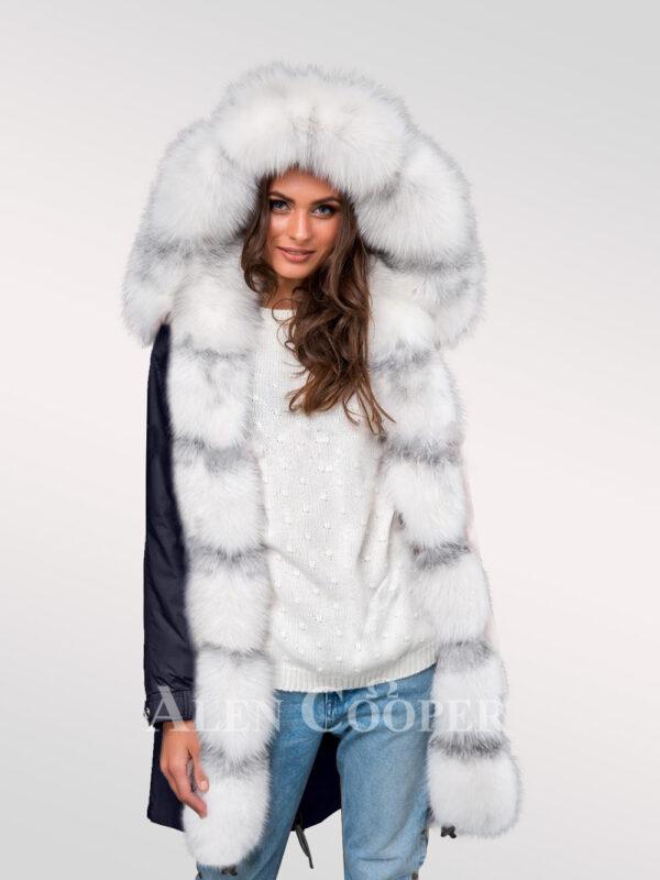Stylish and trendy Arctic fox fur hybrid navy parka convertibles for divas