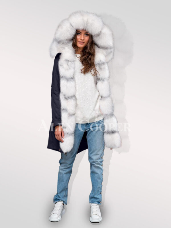 Stylish and trendy Arctic fox fur hybrid navy parka convertibles for women