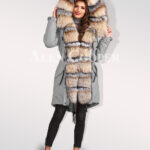 Turn all eyes on you with blue frost fox fur hybrid grey parka convertibles