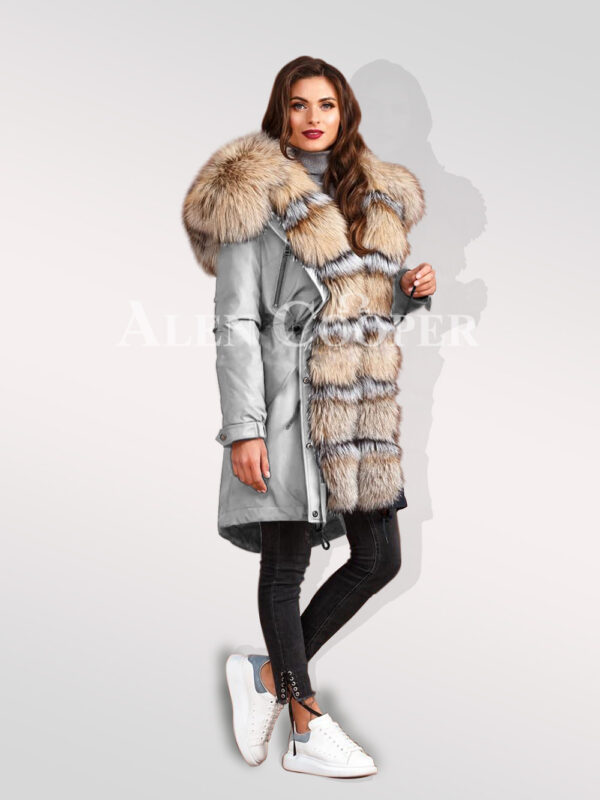 Turn all eyes on you with blue frost fox fur hybrid grey parka convertibles for womens