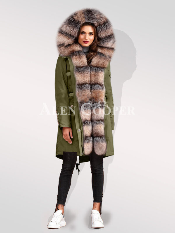Ultimate style statement for divas with blue frost fox fur hybrid green parka convertibles