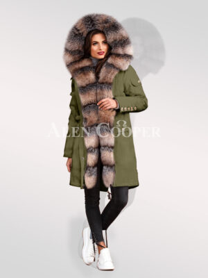 Ultimate style statement for divas with blue frost fox fur hybrid green parka convertibles for women