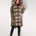Ultimate style statement for divas with blue frost fox fur hybrid green parka convertibles for women's