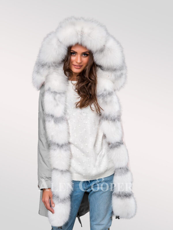 Women's hybrid grey parka convertibles from Arctic fox fur redefining trends