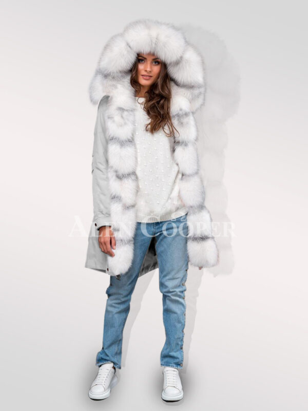 Women hybrid grey parka convertibles from Arctic fox fur redefining trends