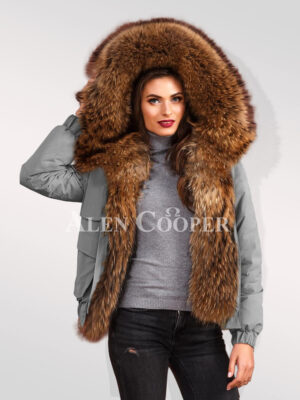 Womens Finn raccoon hybrid grey bomber jacket convertibles to redefine your aura and attraction