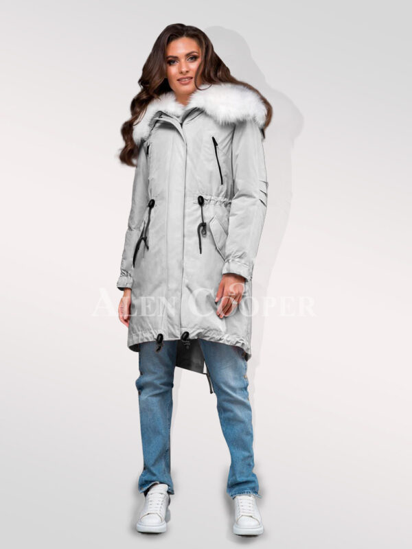 Womens hybrid grey parka convertibles from Arctic fox fur redefining trends