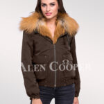 Adorable and chic women's Golden island fox fur hybrid coffee bomber jacket convertibles