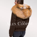 Adorable and chic women's Golden island fox fur hybrid coffee bomber jacket convertibles back side view