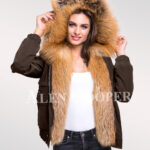 Adorable and chic womens Golden island fox fur hybrid coffee bomber jacket convertibles