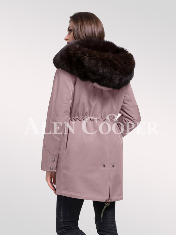 Arctic fox fur hybrid pink parka convertibles for ladies to redefine elegance back side view