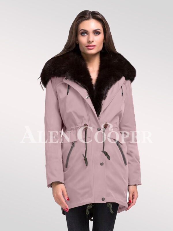 Arctic fox fur hybrid pink parka convertibles for ladies to redefine elegance new