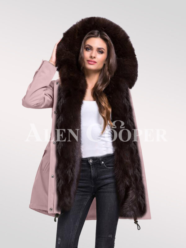 Arctic fox fur hybrid pink parka convertibles for ladies to redefine elegance new view