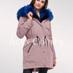 Elegant Arctic fox fur hybrid pink parka convertibles to make women look more graceful
