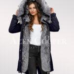 Elegant and outstanding version of ladies' Scandinavian silver fox fur hybrid navy parka convertibles