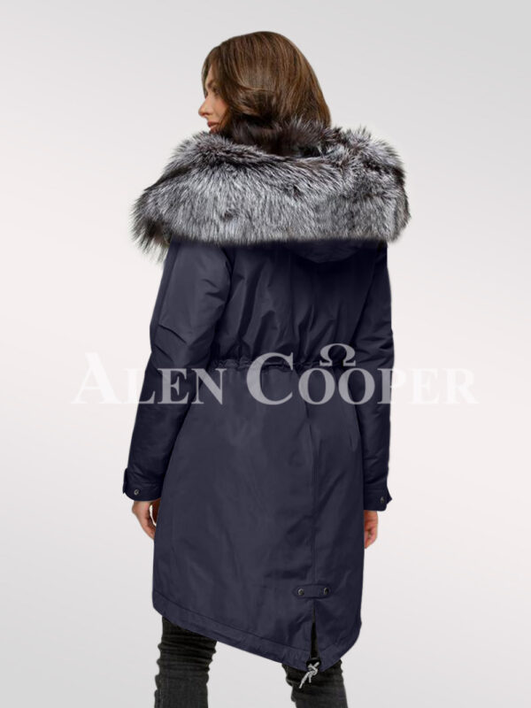 Elegant and outstanding version of ladies' Scandinavian silver fox fur hybrid navy parka convertibles back side view