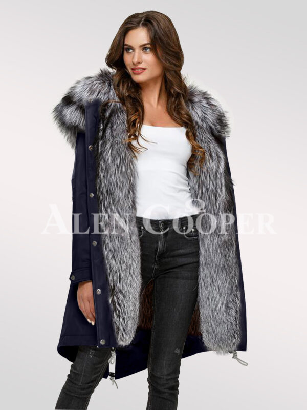 Elegant and outstanding version of ladies Scandinavian silver fox fur hybrid navy parka convertibles