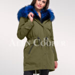 Fascinating and uniquely stylish women's Arctic fox fur hybrid green parka convertibles