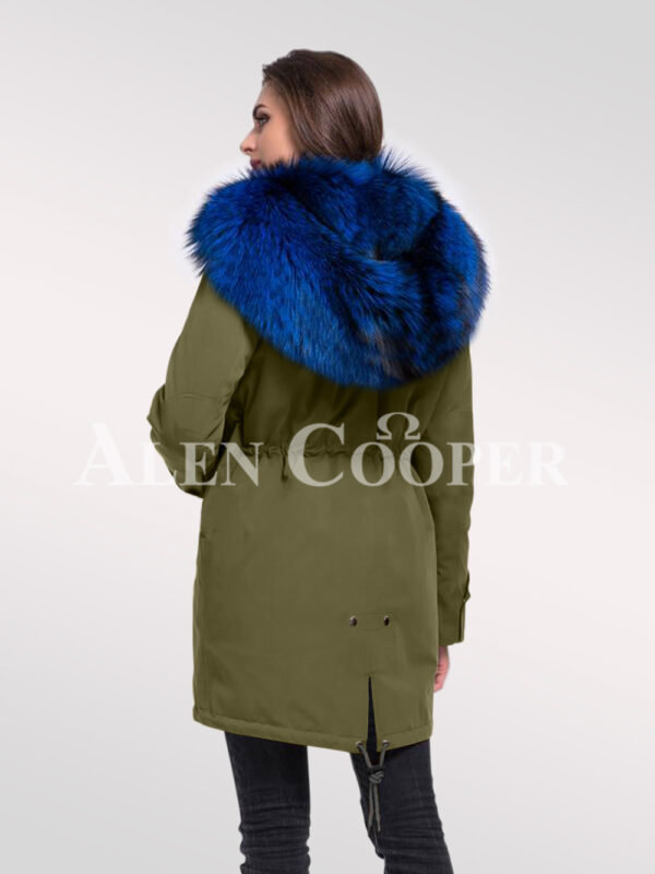 Fascinating and uniquely stylish women's Arctic fox fur hybrid green parka convertibles back side view