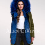 Fascinating and uniquely stylish womens Arctic fox fur hybrid green parka convertibles