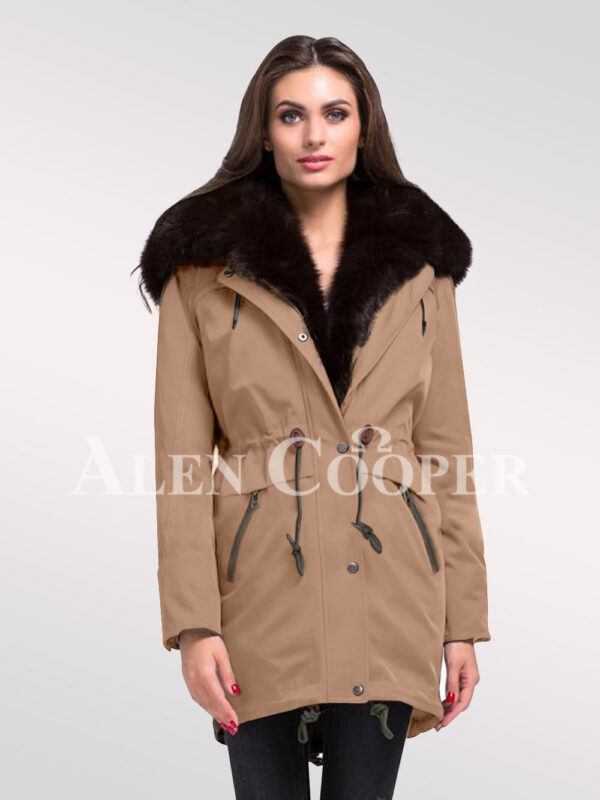 Give in to the fashion revolution with women's Arctic fox fur hybrid beige parka convertibles