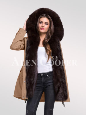 Give in to the fashion revolution with womens Arctic fox fur hybrid beige parka convertibles