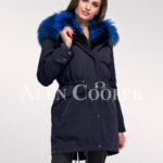 Magnify your persona with women's Arctic fox fur hybrid navy parka convertibles