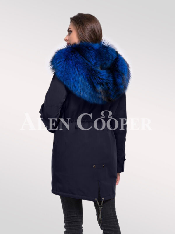 Magnify your persona with women's Arctic fox fur hybrid navy parka convertibles back side view