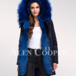 Magnify your persona with womens Arctic fox fur hybrid navy parka convertibles