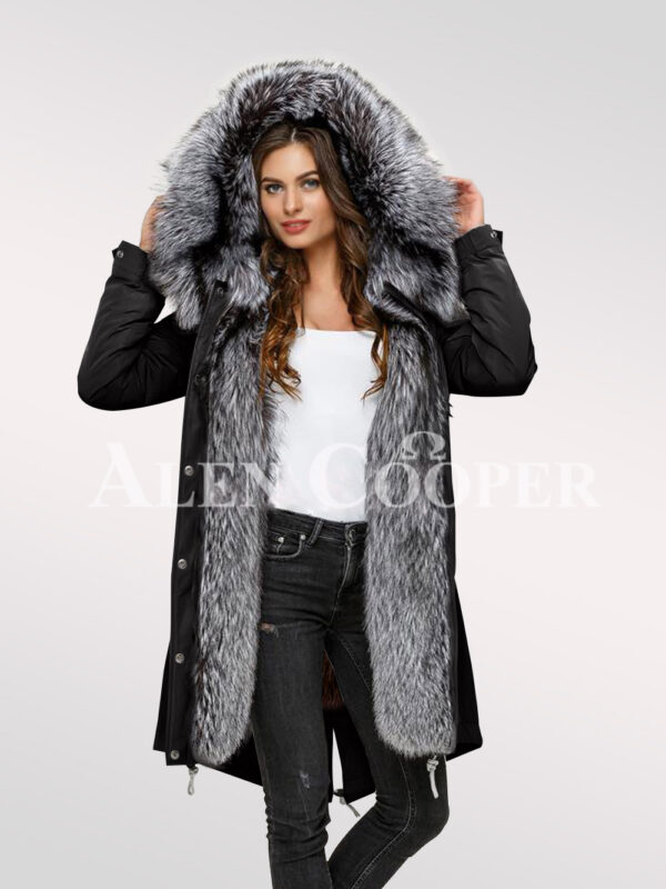 More aristocratic and graceful with ladies' Scandinavian silver fox fur hybrid black parka convertibles