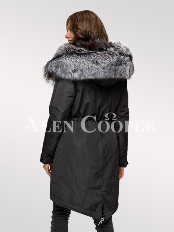 More aristocratic and graceful with ladies' Scandinavian silver fox fur hybrid black parka convertibles back side view