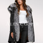 More aristocratic and graceful with ladies Scandinavian silver fox fur hybrid black parka convertibles