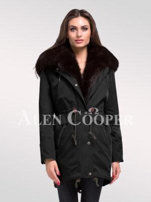 Overhaul your image with women's Arctic fox fur hybrid Black parka convertibles