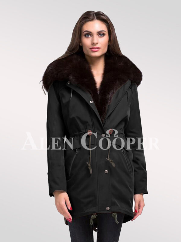 Overhaul your image with women's Arctic fox fur hybrid Black parka convertibles
