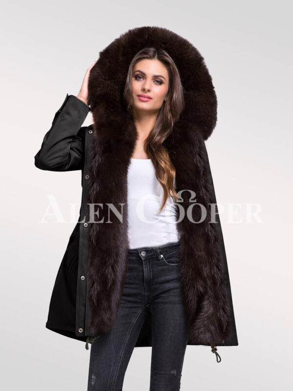 Overhaul your image with womens Arctic fox fur hybrid Black parka convertibles