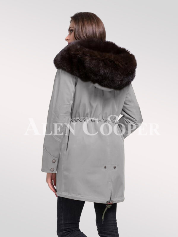 Refurbish your wardrobe with Arctic fox fur hybrid grey parka convertibles for women back side view New