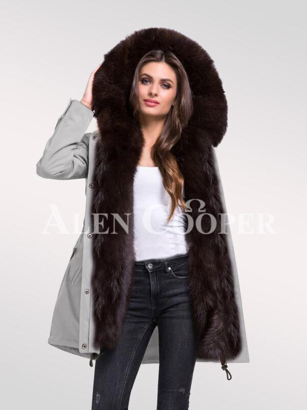 Refurbish your wardrobe with Arctic fox fur hybrid grey parka convertibles for women new